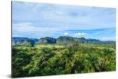 Het karstlandschap van de Cubaanse Vallei van de Viñales Aluminium 120x80 cm - Foto print op Aluminium (metaal wanddecoratie)