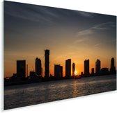 Jersey City en de Hudson rivier met zonsondergang in de Verenigde Staten Plexiglas 180x120 cm - Foto print op Glas (Plexiglas wanddecoratie) XXL / Groot formaat!