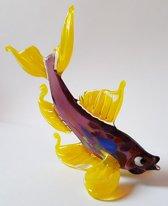 Beeld Vis van glas Design E Gele vinnen handgemaakt