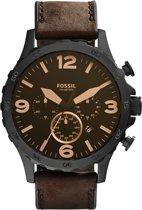 Fossil Nate JR1487 - Horloge - Leer - Bruin - Ø 50 mm