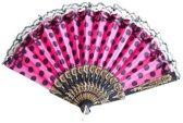Spaanse waaier - Flamenco - bij Spaanse jurk roze zwart kant