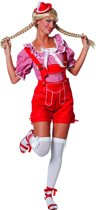 Tiroler Dirndl blouse luxe kort rood/wit voor dame