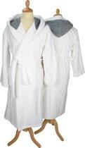 ARTG Robezz® Badjas - Gekleurde Capuchon - White/Anthracite Grey - Maat L/XL