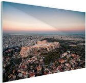 Uitzicht op de Akropolis Glas 90x60 cm - Foto print op Glas (Plexiglas wanddecoratie)