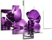 Glasschilderij Orchidee | Paars, Wit | 100x70cm 5Luik | Foto print op Glas |  F002068