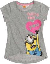 Minions-T-shirt-met-korte-mouw-grijs - Maat 152