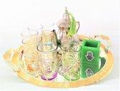 Complete Marokkaanse theeset met 6 Marokkaanse glazen, een Marokkaanse dienblad + Arabische theelichthouder met handje van Fatima (Hamsa)