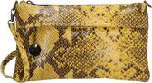 Charm Elisa leren clutch-schoudertasje snake - Oker Geel