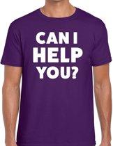 Can i help you beurs/evenementen t-shirt paars heren - verkoop/horeca L