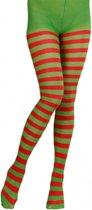 Rood met groen gestreepte panty