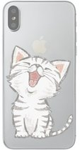 iPhone X / XS - hoes, cover, case - TPU - Transparant - Kat