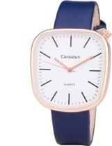 Leren Dames Horloge - Vierkant - Blauw & Rosé - Carsidun