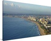 Luchtfoto van de kustlijn van Durban in Zuid-Afrika Canvas 80x40 cm - Foto print op Canvas schilderij (Wanddecoratie woonkamer / slaapkamer)