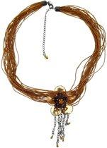 Behave® Dames ketting bruin met bloem 42 cm