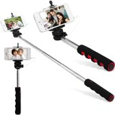 Selfie stick voor Smartphone - licht gewicht voor Samsung/iPhone/HTC/Apple - ROOD & ZWART HANDVAT
