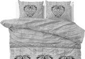 Sleeptime Katoen Hearts Vintage - Dekbedovertrekset - Lits-Jumeaux - 240x200/220 + 2 kussenslopen 60x70 - Grijs