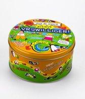 Snoeptrommel Vrijwilliger gevuld met verse dropmix in cadeauverpakking met gekleurd lint