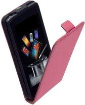 Lederen Flip Case Roze Motorola Moto E Flipcover Hoesje