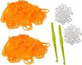 600 Loom Bands met 2 weefhaken en S-clips oranje