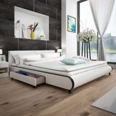 vidaXL Bedframe met 2 lades kunstleer wit 180x200 cm