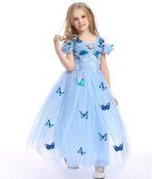 Prinsessen jurk blauw maat 116/122 + gratis staf en kroon - met vlinders - (labelmaat 130) - verkleedjurk