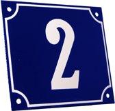 Emaille huisnummer blauw/wit groot nr. 2 18x15cm