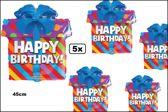 5x Folie ballon 45 cm Happy Birthday cadeau
