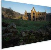 Laagstaande zon schijnt op de Tintern Abbey Plexiglas 90x60 cm - Foto print op Glas (Plexiglas wanddecoratie)