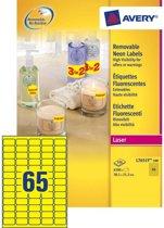 Avery Neon Etiketten, neon geel, 38,1 x 21,2 mm, afneembaar