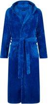 Flanel fleece badjas - kobaltblauw - capuchon maat S/M
