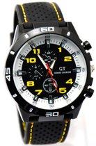GT Sportief -  Tiener Horloge - Siliconen - 44 mm - Zwart/Geel