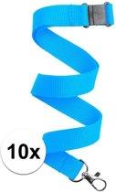 10x Lichtblauw keycord/lanyard met karabijnhaak sleutelhanger 50 cm - Polyester keycords/sleutelkoord