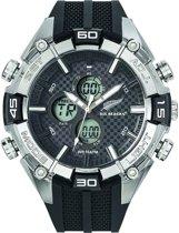 All Blacks 680225 digitaal/ analoog horloge 50 mm 100 meter zwart/ grijs