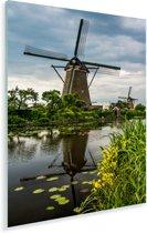 Landschap bij de Molens van Kinderdijk in het Europese Nederland Plexiglas 120x180 cm - Foto print op Glas (Plexiglas wanddecoratie) XXL / Groot formaat!