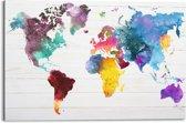 REINDERS Wereldkaart aquarel - Schilderij - 90x60cm