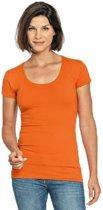 Bodyfit dames t-shirt oranje met ronde hals - Dameskleding basic shirts L (40)