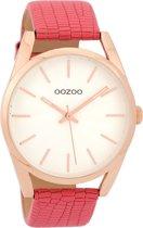 OOZOO Timepieces  Roze/Wit horloge  (45 mm) - Roze