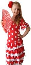Spaanse jurk - Flamenco - Deluxe - rood wit - maat 140/146 (12) - Verkleedkleding