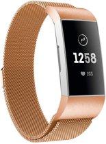 Milanese Loop Armband Voor Fitbit Charge 3 Horloge Band Strap - Milanees Armband Polsband -  Rose Goud