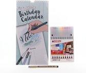 Set: Birthday calender, Pigma Micron pen en brushpennen Edding