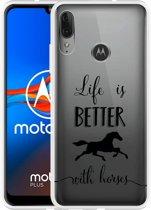 Motorola Moto E6 Plus Hoesje Life is Better with Horses