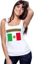 Singlet shirt/ tanktop Mexicaanse vlag wit dames M