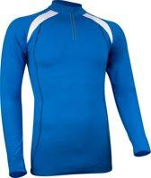 Avento Sportshirt Lange Mouw - Dik Materiaal - Kobalt/Wit/Antraciet - XL