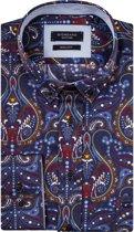 Giordano Heren Overhemd Navy Blauw Paisley Print Button-down Regular Fit - M