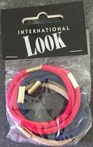 International look! Elastiekjes Rood/Blauw/Beige