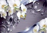 Fotobehang Pattern Flowers Orchids | XXXL - 416cm x 254cm | 130g/m2 Vlies