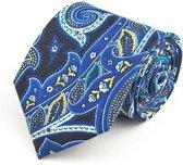 Stropdas - Blauw - 100% Zijde - Heren - Paisley patroon