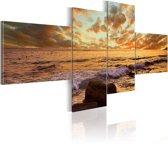 Schilderij - Zonsondergang aan Zee, 4luik