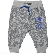 Dirkje Jongens Broek - Grey melee  All over print + bright blue - Maat 80