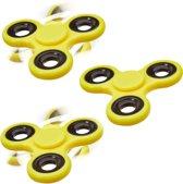 relaxdays 3 x Fidget Spinner - tri-spinner 58g - hand spinner - anti-stress speelgoed geel